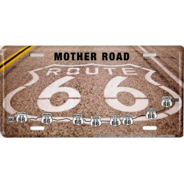 Route 66 Road Paint Metal License Plate
