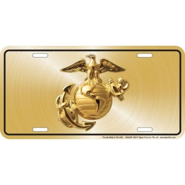 Marines Officer EGA Gold Logo Metal License Plate