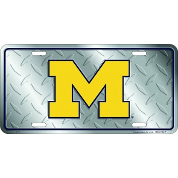 Michigan Wolverines Diamond Metal License Plate