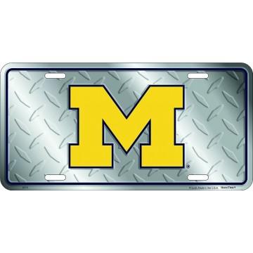 Michigan Wolverines Diamond Metal License Plate