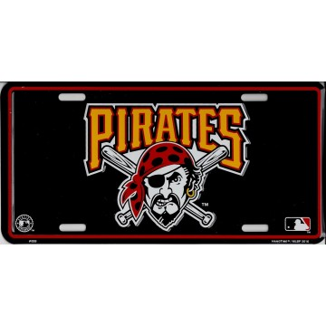 Pittsburgh Pirates Black Metal License Plate