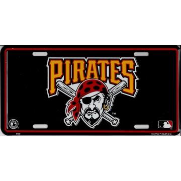 Pittsburgh Pirates Black Metal License Plate
