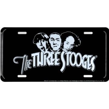 The Three Stooges On Black Metal License Plate