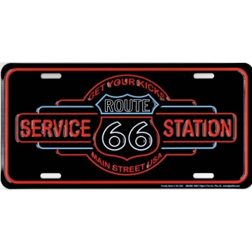 Route 66 Service Station Metal License Plate