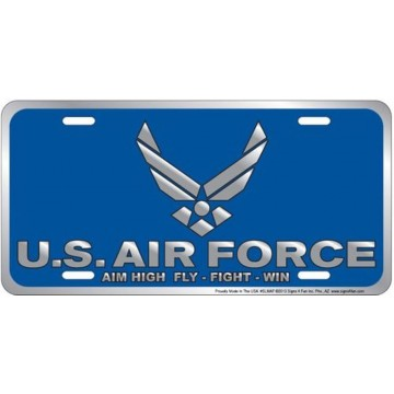 Air Force Aim High Metal License Plate