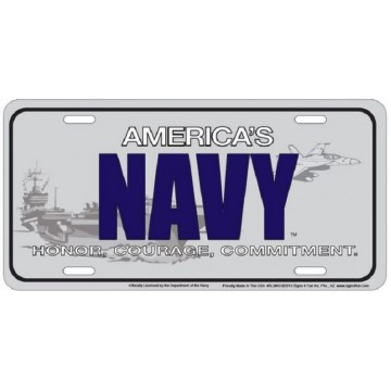 America's Navy Metal License Plate