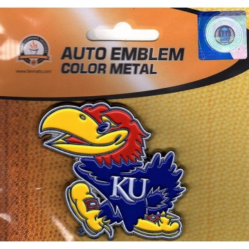 Kansas Jayhawks 3-D Color Metal Auto Emblem