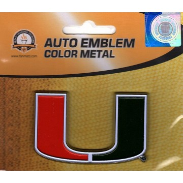 Miami Hurricanes 3-D Color Metal Auto Emblem