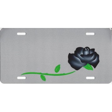 Black Rose On Silver Airbrush License Plate
