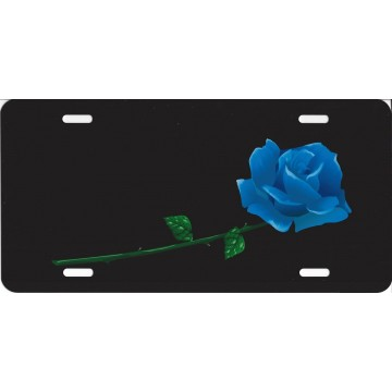 Blue Rose Offset On Black License Plate