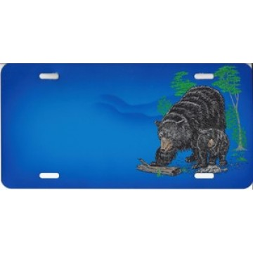 Black Bear And Cub License Plate