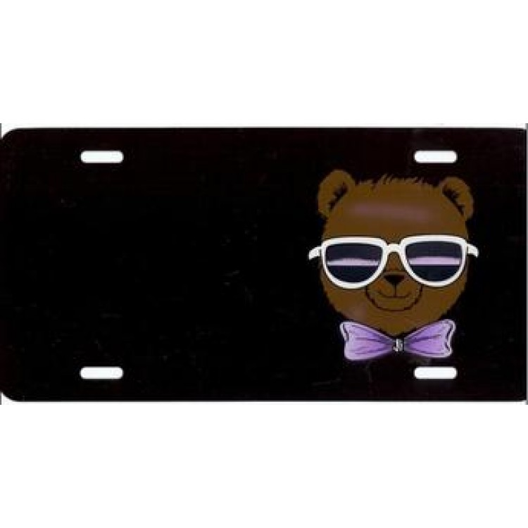 Teddy Bear On Black With Sunglasses License Plate