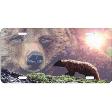 Grizzley Bear Mountain Scene License Plate