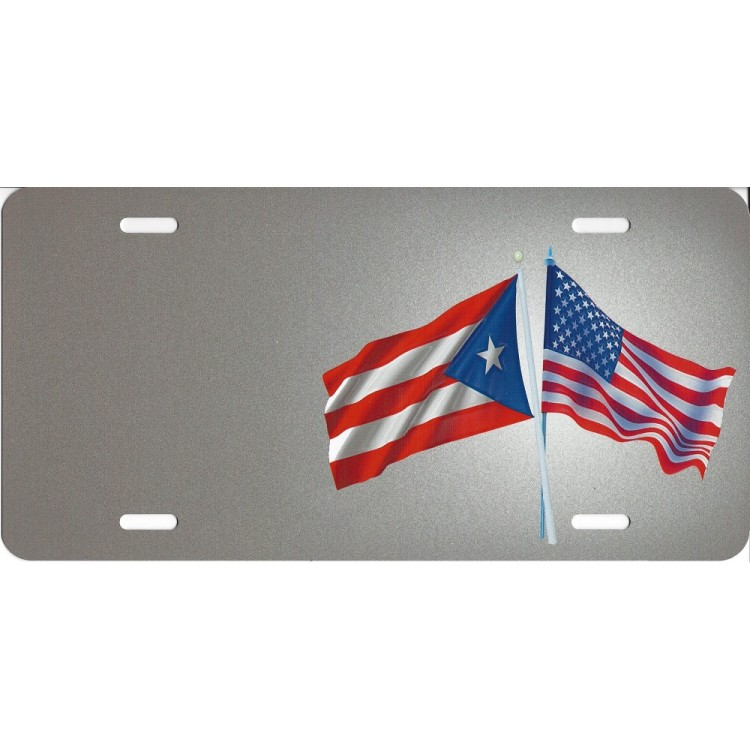 Offset Puerto Rico And United States Crossed Flags License Plate