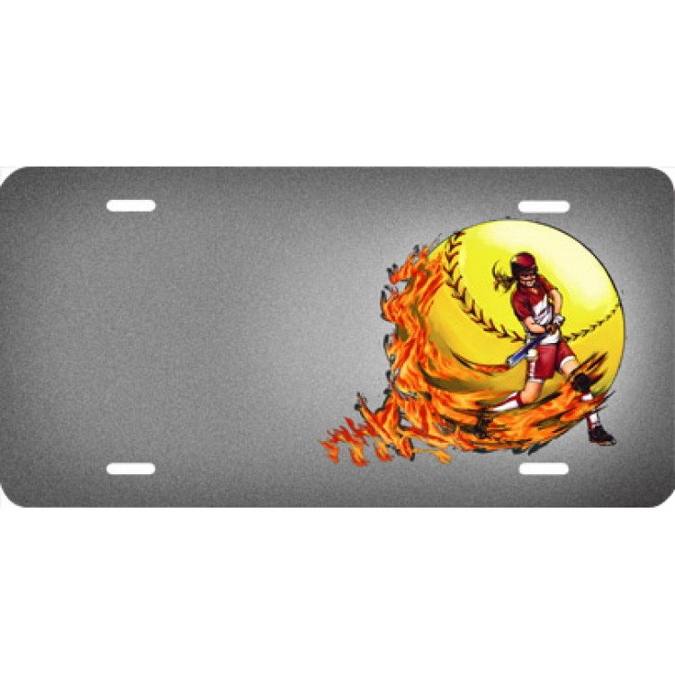 Softball Girl With Flames Offset License Plate