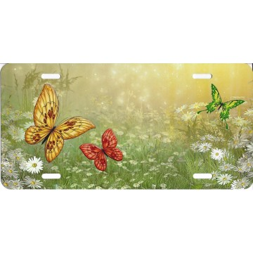 Butterflies In Forest License Plate