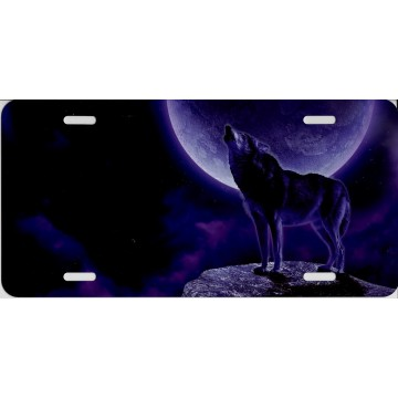 Howling Moon Purple Wolf License Plate