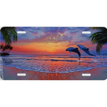 Dolphins Leaping At  Sunset  License Plate