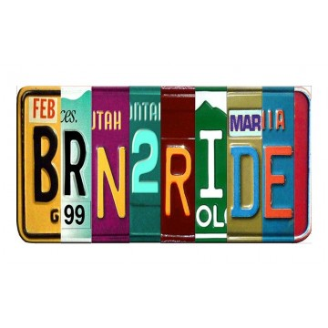 BRN2RIDE Cut Style Metal Art License Plate
