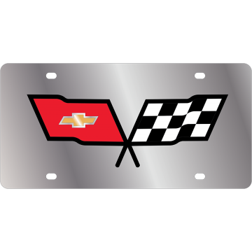 Corvette Logo Stainless Steel License Plate