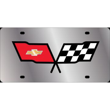 Corvette Logo Stainless Steel License Plate