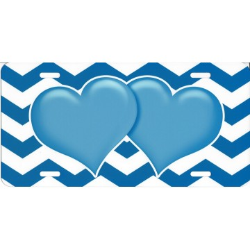 Blue Hearts On Chevron Airbrush License Plate