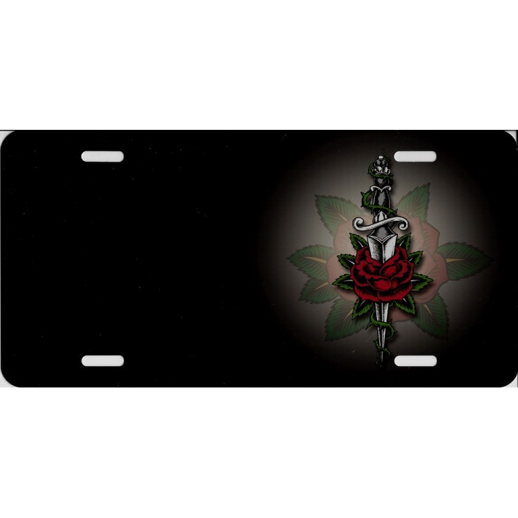 Offset Rose And Dagger On Gray Airbrush License Plate