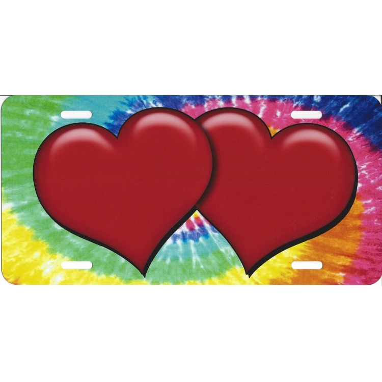Red Hearts On Tie Die Airbrush License Plate