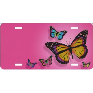 Offset Butterflies On Pink Airbrush License Plate