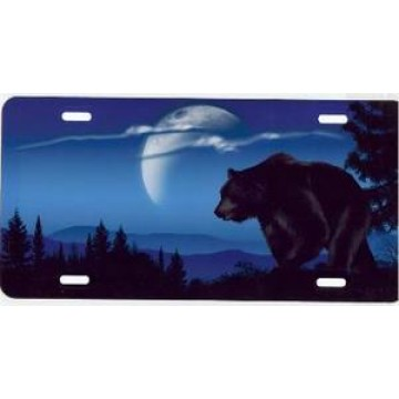 Brown Bear On Blue Airbrush License Plate