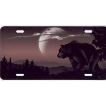 Brown Bear On Mocha Airbrush License Plate