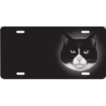 Black And White Offset Cat Airbrush License Plate