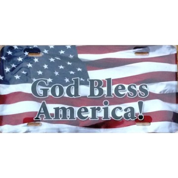 God Bless America Patriotic Airbrush License Plate