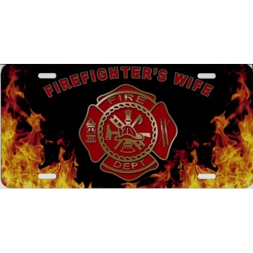 Fire Dept. Flames Firefighter's Wife Airbrush License Plate