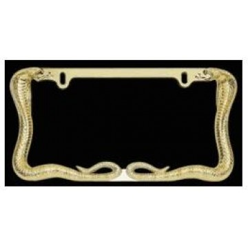 Twin Cobra Snake Gold License Plate Frame