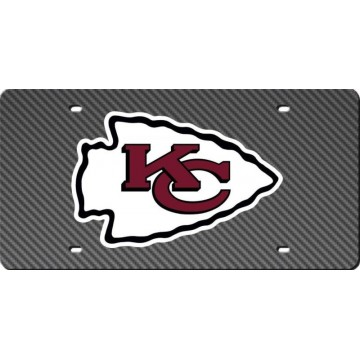 Kansas City Chiefs Carbon Fiber Design Laser License Plate
