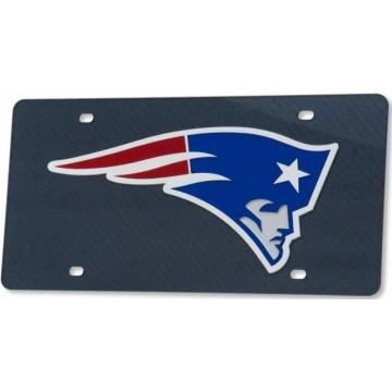 New England Patriots Carbon Fiber Design Laser License Plate