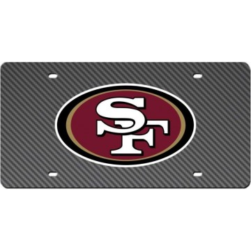 San Francisco 49ers Carbon Fiber Design Laser License Plate