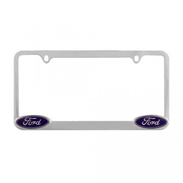 Chrome License Frame with Ford logo in corners