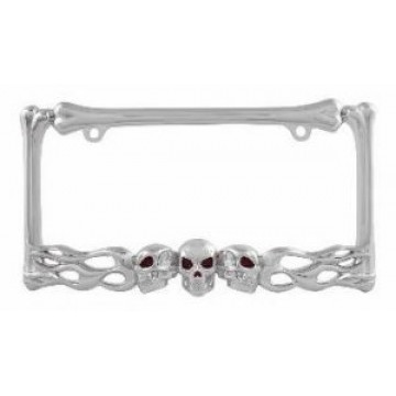 Chrome Multi Skull License Plate Frame