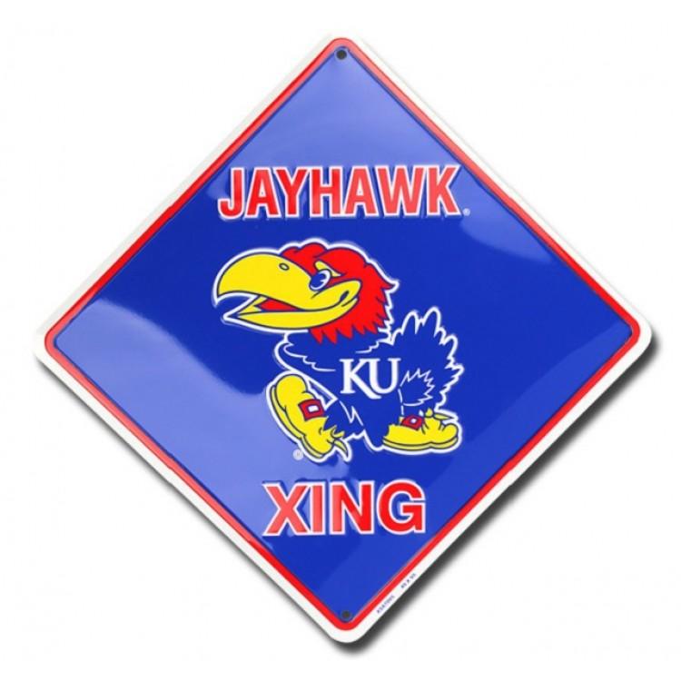Kansas Jayhawks Xing Metal Parking Sign
