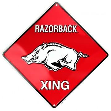 Arkansas Razorbacks Xing Metal Parking Sign