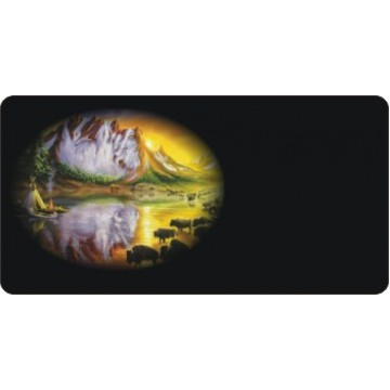 Offset Buffalo Bison Reflections Photo License Plate
