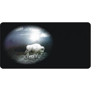Offset White Buffalo Photo License Plate