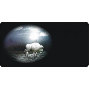 Offset White Buffalo Photo License Plate