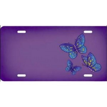 Butterflies On Purple License Plate
