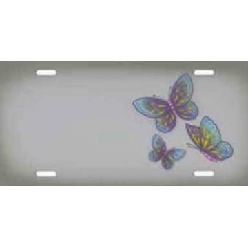Butterflies Offset on Gray Airbrush License Plate