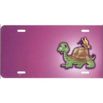 Turtle With Butterfly On Pink Offset License Plate