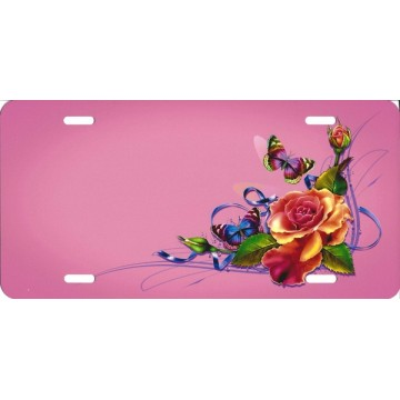 Butterflies And Flowers Offset On Pink License Plate