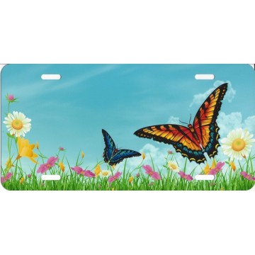 Butterflies In Field License Plate